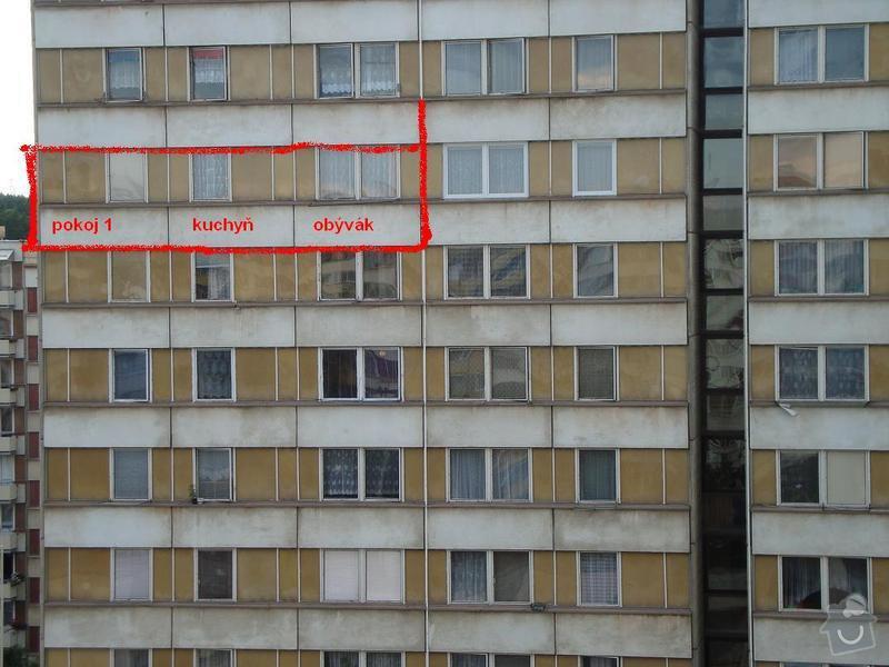 Výměna oken včetně vyzdění meziok.vložek v paneláku Tábor: panelak
