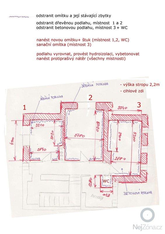 Rekonstrukce sklepu, nové omítky+podlahy, 3 místnosti + WC: sklep_rekonstrukce