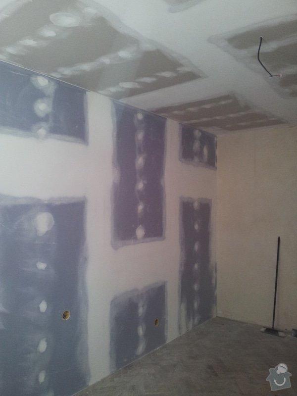 Montáž sádrokartonové Akustické předstěny, Sádrokartonový podhled s izolací, nově vyštukované zdi : akustika_02