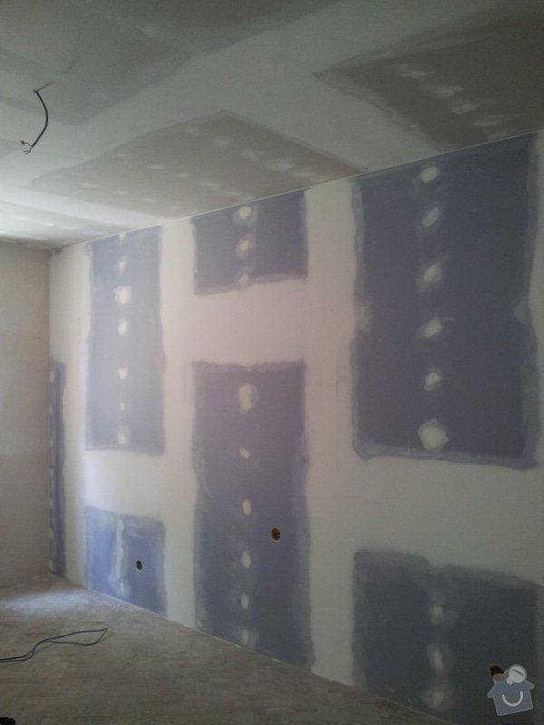 Montáž sádrokartonové Akustické předstěny, Sádrokartonový podhled s izolací, nově vyštukované zdi : akustika_03