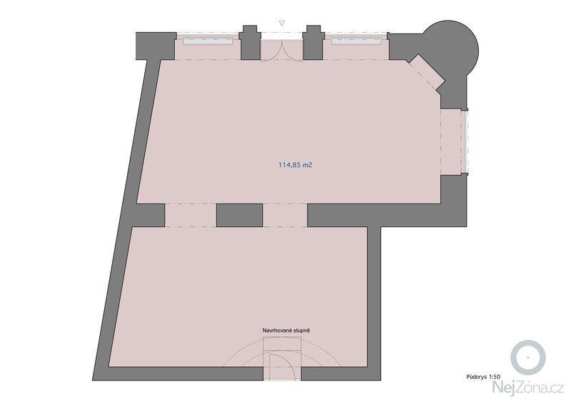 Zhotovení betonové podlahy 115 m2 : pudorys