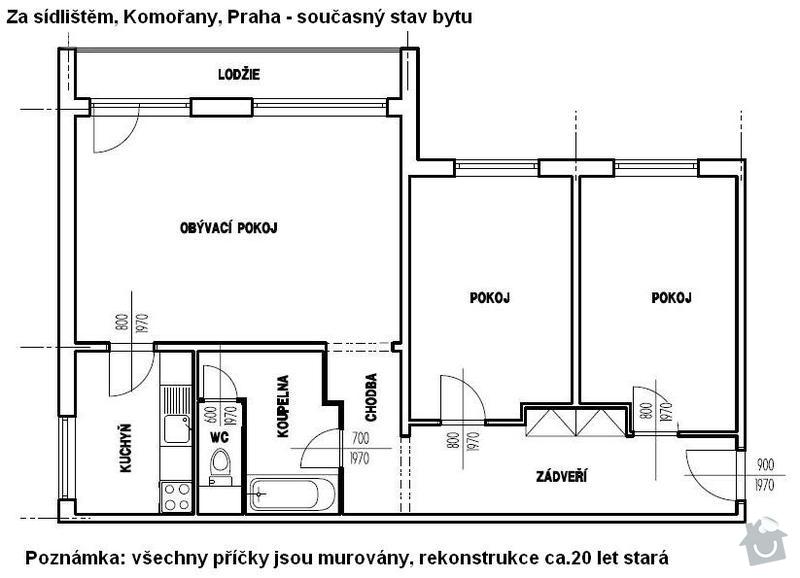 Kompletní rekonstrukcie 3+1, Komořany, Praha: 01_soucasny_stav