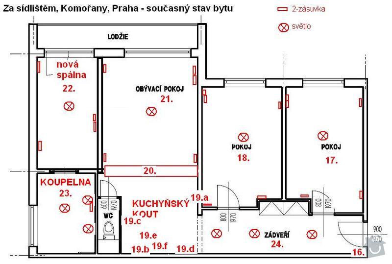 Kompletní rekonstrukcie 3+1, Komořany, Praha: 04_elektrika