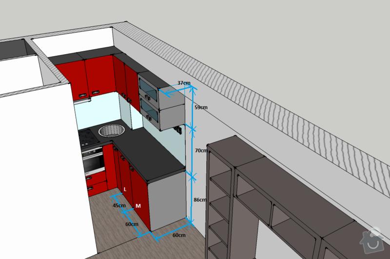 Kuchyňská linka na míru, vestavná šatní skříň: kuchyne-rozmery1