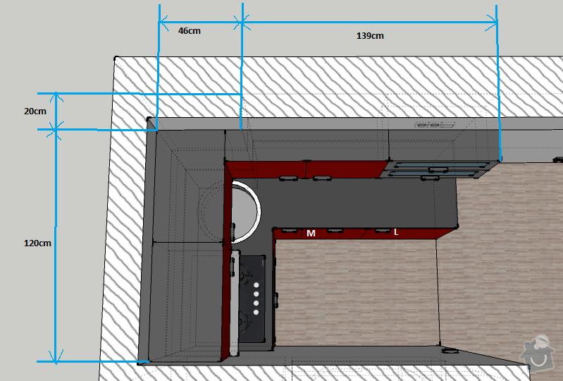 Kuchyňská linka na míru, vestavná šatní skříň: kuchyne-rozmery2