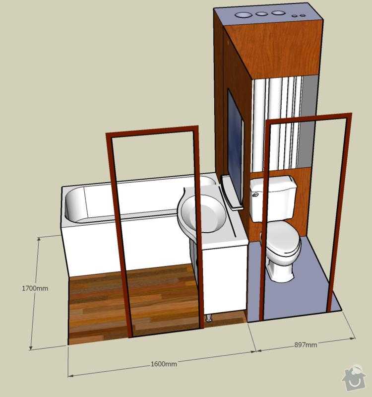 Rekonstrukce koupelnového jádra - panelák, umakart: koupelna1