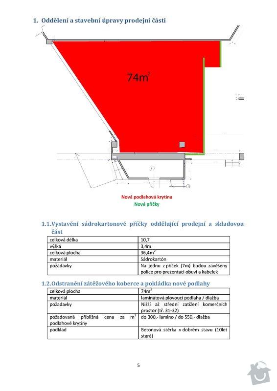 Stavební práce - podlaha 74m2, sádrokartony 53m2, malování, instalateřina: 5