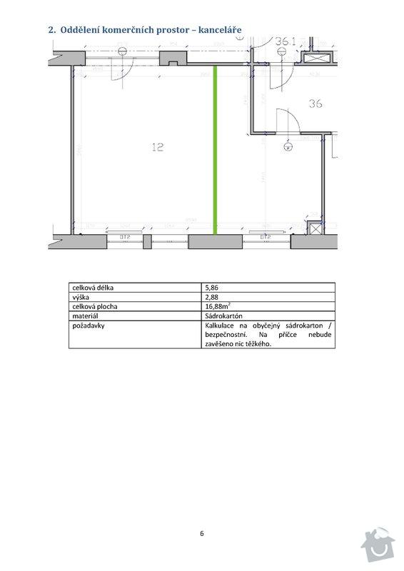 Stavební práce - podlaha 74m2, sádrokartony 53m2, malování, instalateřina: 6