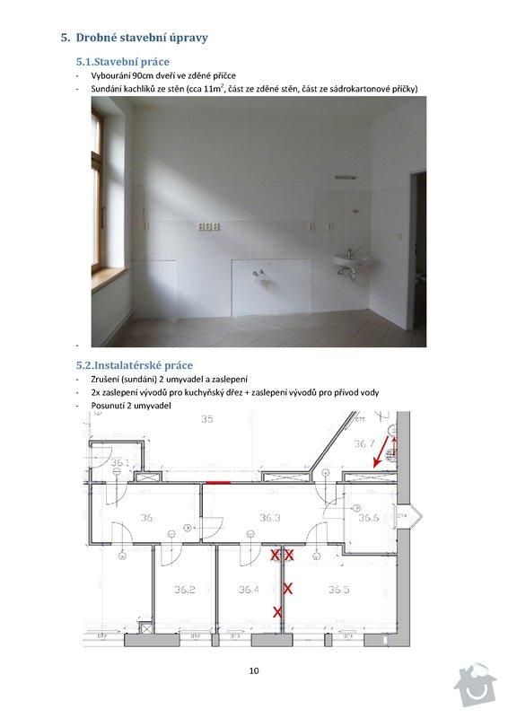 Stavební práce - podlaha 74m2, sádrokartony 53m2, malování, instalateřina: 10