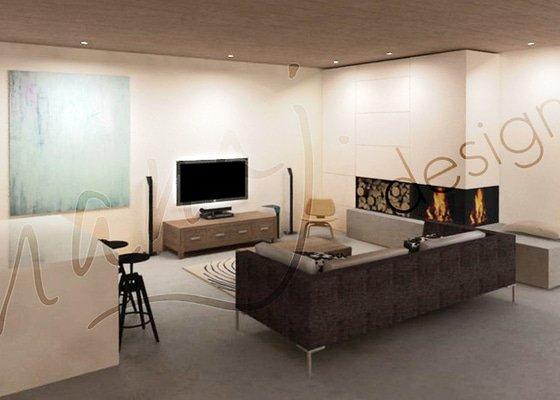 Návrh obývacího pokoje a jídelny v rodinném domě