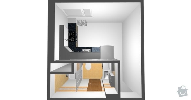 Renonstrukce bytu 2 + 1 v 1. NP: pohled1