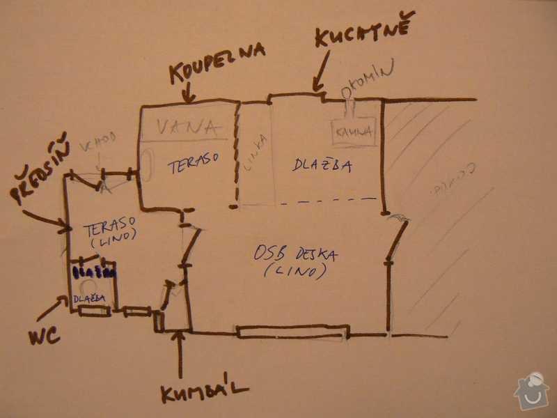 Rekonstrukce kuchyně a koupelny/WC včetně sjednocení podlah: 9.plan