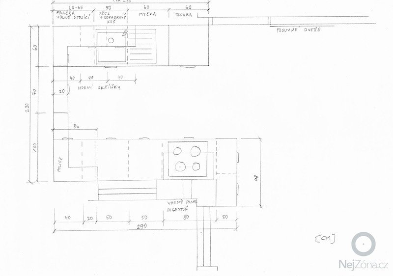 Rekonstrukce kuchyně a předsíně: pudorys