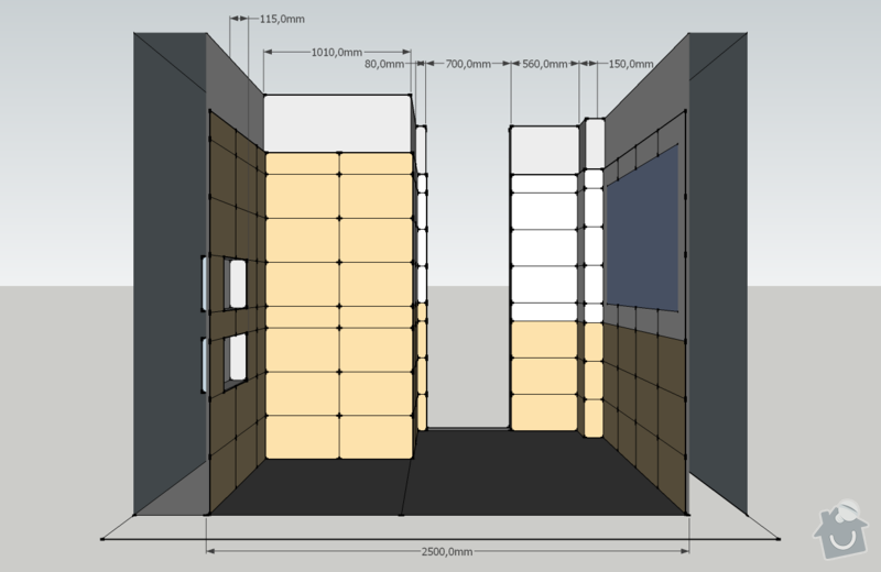 Obklady, dlažba - koupelna+záchod v rodinném domě: koupelna_pohled_S