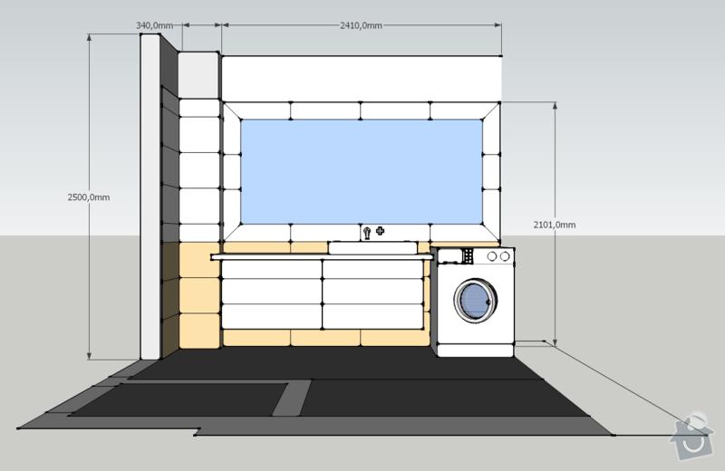 Obklady, dlažba - koupelna+záchod v rodinném domě: koupelna_pohled_V