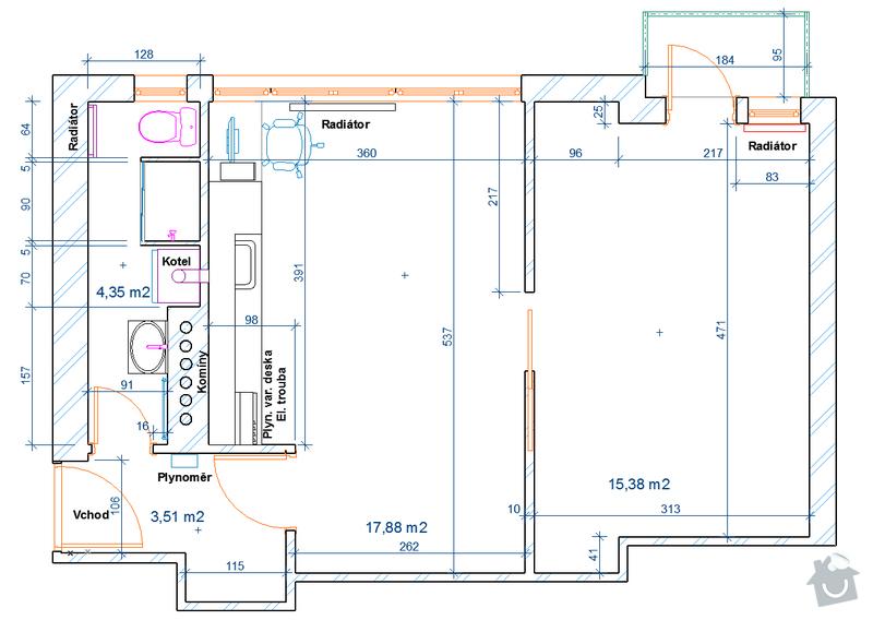 Výměna elektrorozvodů v bytě: koty_2D