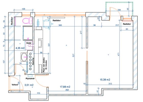 Instalace plyn. kotle + radiátorů