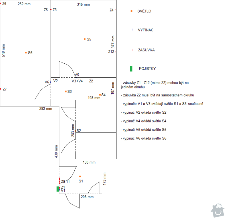 Rekonstrukce elektriky 3 pokoje: Nakres