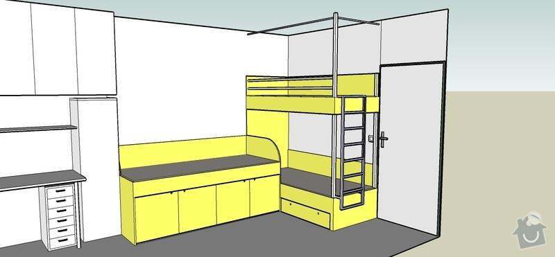 Truhlářské práce - postele: Pokojik_12_navrh_A