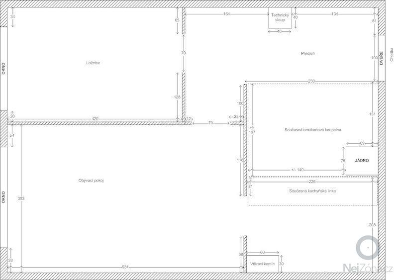 Rekonstrukce 2KK, Praha-Háje, skříně: 2012_dispozice_bytu