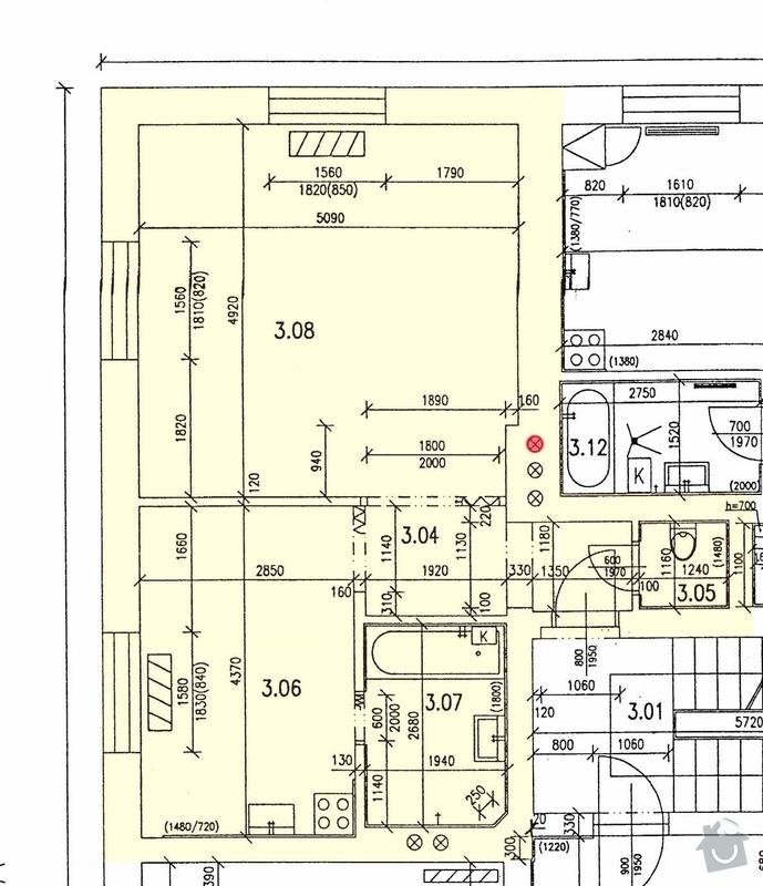 Kompletni rekonstrukce bytu: stavebni prace: Pudorys