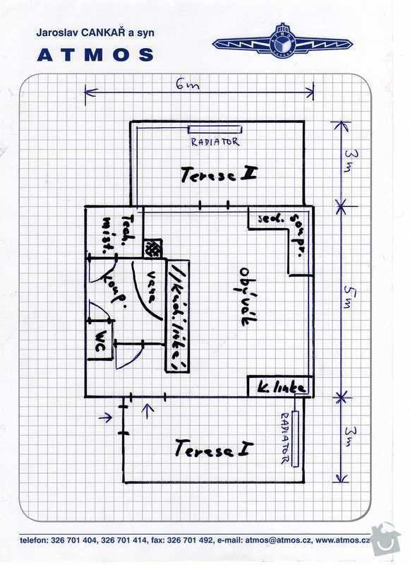 Teplovodní podlahové topení: chata-planek_prizemi