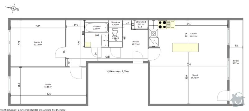 Rekonstrukce panelového bytu 3+kk: dispozice_navrh