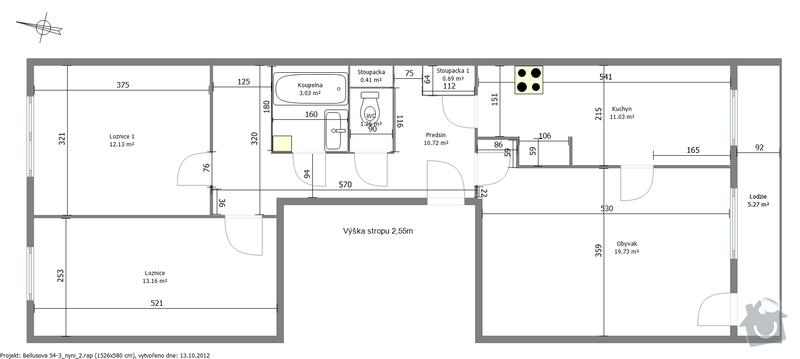 Rekonstrukce panelového bytu 3+kk: dispozice_nyni