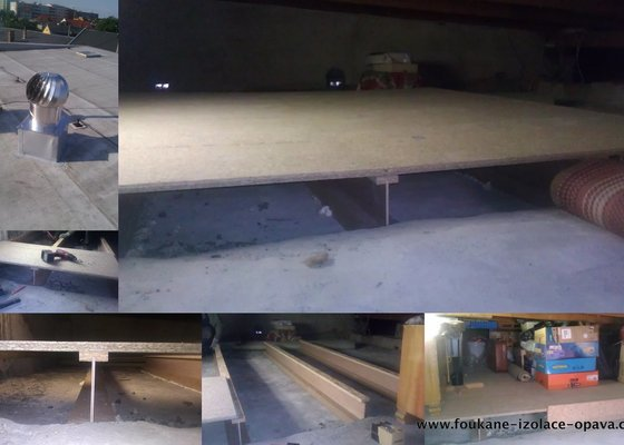 Foukaná izolace ploché střechy a vytvoření podlahy pro úložný prostor