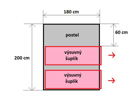Postel z masivu pro dvě osoby s výsuvnými šuplíky