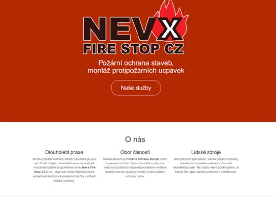 Tvorba webových stránek pro firmu NEVX FIRE STOP CZ
