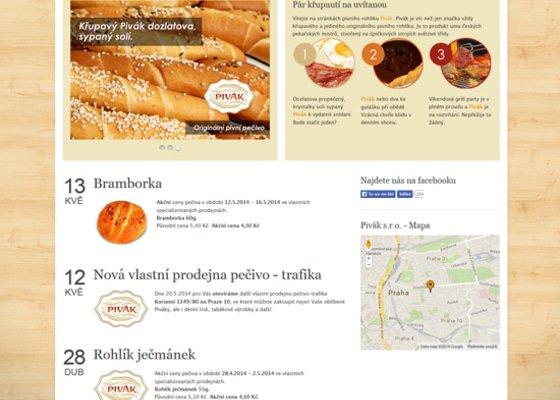 Tvorba webových stránek pro pekárenskou společnost Pivák, s.r.o.