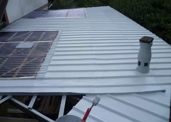 Nátěr plechové střechy u chaty v Rajnochovicích