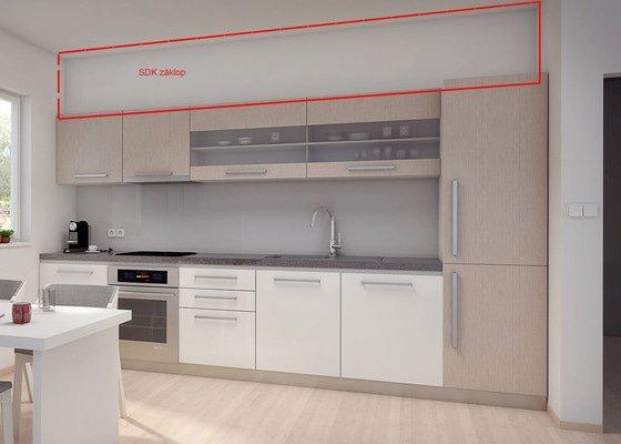 Montáž SDK záklopu nad kuchyňskou linkou, napojení digestoře, připevnění garnýží