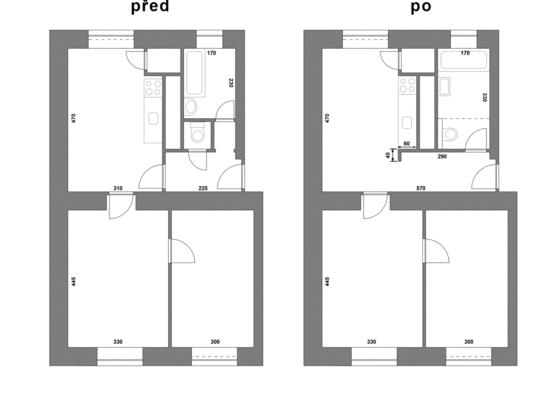 REKONSTRUKCE BYTU 2+1, 53m2 v činžovním domě, 1. patro bez výtahu