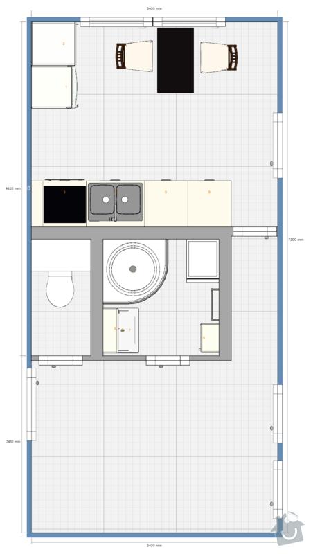 Rekonstrukce jádra a kuchyně v panelovém domě: Pudorys