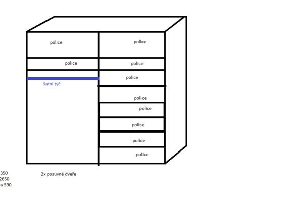 2x šatní skříň výroba+montáž