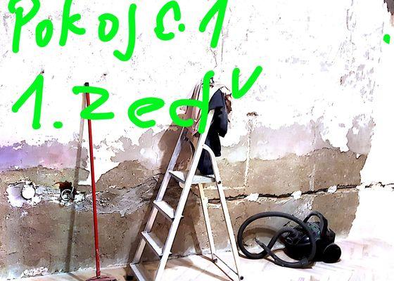 Perlinka na stěny včetně štuku,dozdění překladů ,dozdění stěny,příprava dvou otvorů na dveře 80cm(vybouráno cca90cmx200cm.
