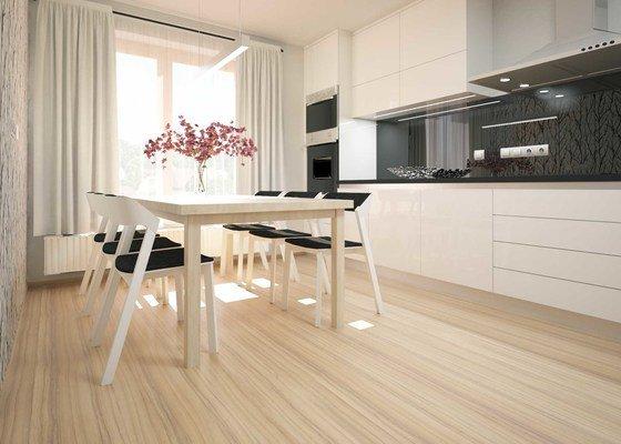 Návrh moderního obývacího pokoje a kuchyňské části