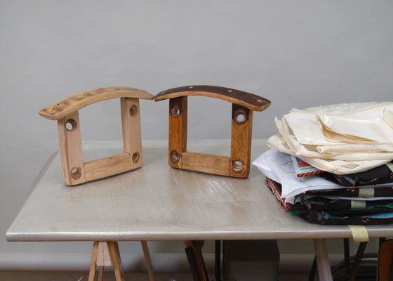 Obroušení židlí /dýhy/, nátěr