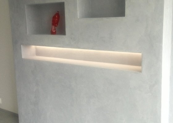 Dělící příčka v bytě z OSB desek dle vizualizacd