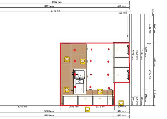 Příprava rozvodů pro kuchyň, podhled, montáž kuchyně Ikea