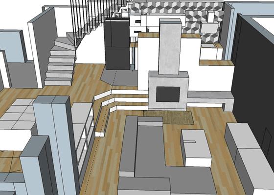 Betonová stěrka na schody a krb