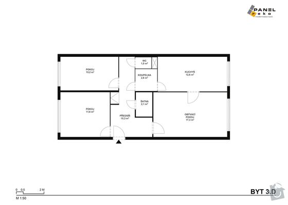 Rekonstrukce bytového jádra 3+1 v paneláku