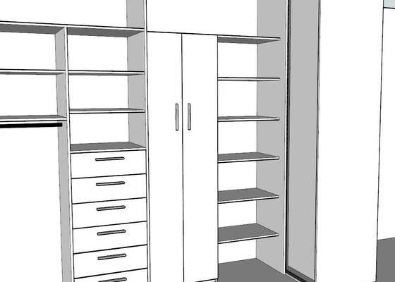 Vestavěná šatna v panelovém bytě