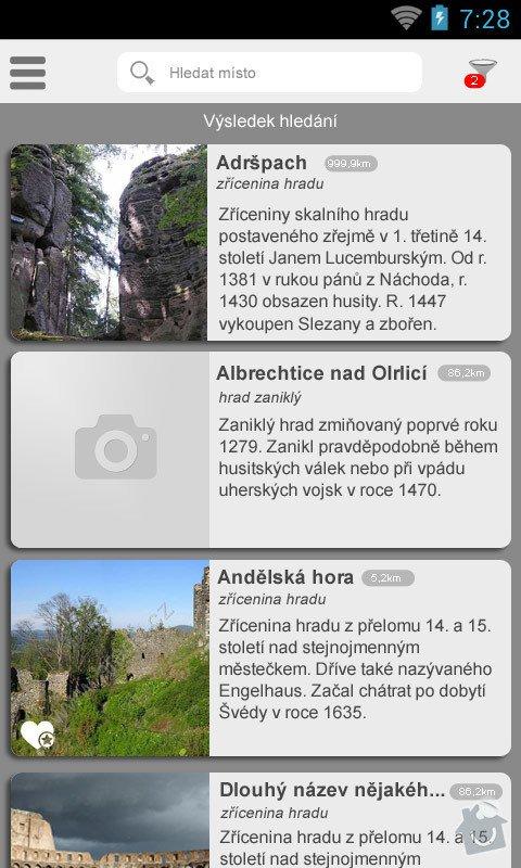 Mobilní aplikace pro server  : sezanm míst
