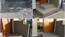 Schody z kameneho koberec +dlažba