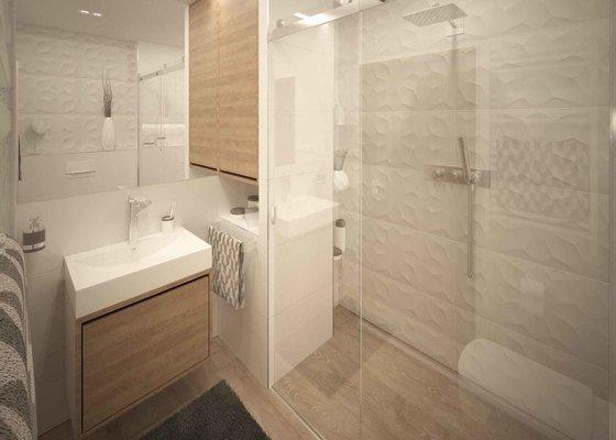 Návrh koupelen a zádveří ve dřevě a v bílé