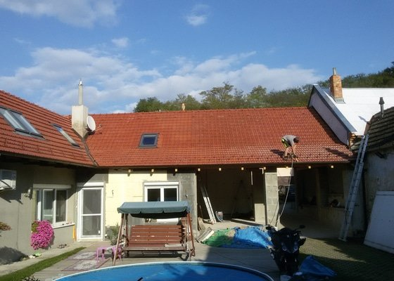 Střecha nad koupelnou+suché stání pro auta