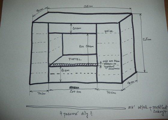 1. Původní nákres - představa, zatím bez schodů.